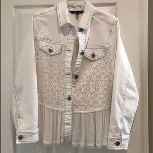 White denim and lace jacket